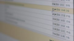Scrolling through  mail page on computer Stock Footage