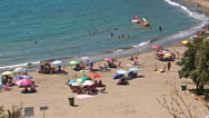 Cristo beach on the Costa del Sol popular for  family vacations. Stock Footage