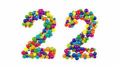 Colored balls in the shape of number twenty two Stock Footage