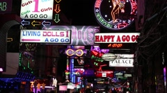Neon Signs nightlife clubs in Walking Street. Pattaya, Thailand Stock Footage