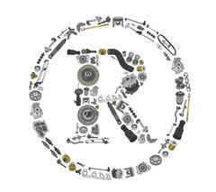 Trade Mark icone with auto parts for car Stock Illustration