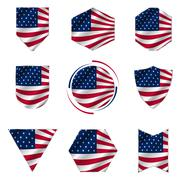 Flag of the United States of America icon vector set. Stock Illustration