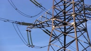 Electricity Pylon. Power Lines And Sky With Clouds Stock Footage