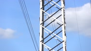 Power Lines And Sky With Clouds Stock Footage