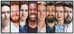The collage of young male and female unhappy face expressions Stock Photos