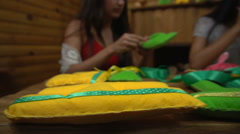 Handmade girls sewing letters of felt Stock Footage