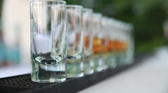 Alcohol drink pouring bartender Stock Footage