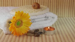 Spa Concept with flower,towel,seashell and candle Stock Footage