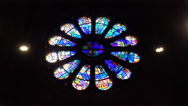 4k Church indoor view colorful round leadlight window in Bremen city Stock Footage