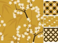 Japanese vector seamless patterns set with bamboo, sakura and traditional Piirros