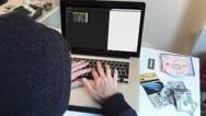 Hacker Programming Computer, Cyber Crime Scene Stock Footage