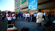 4K Syrian refugee protesting against western media and government in Essen NRW Stock Footage