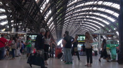 People walking in Central station in Milan, Italy Stock Footage