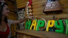 Happy Day from felt letters on fireplace Stock Footage