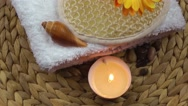 Spa Concept with flower,towel,soaps and candle Stock Footage
