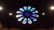 4k Church indoor zoom to round leadlight window in Bremen city Stock Footage