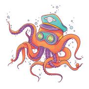 Octopus Wearing Captain Hat and Goggles Stock Illustration