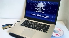 Computer Hacking, Virus Warning On Screen Stock Footage