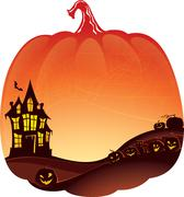 Halloween Double Exposure background with haunted house and pumpkins. Stock Illustration