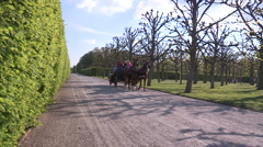 Herrenhausen - horse-drawn carriage ride Stock Footage