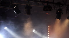 Stage projectors and ambience smoke moving - Misty scene of concert stage. Stock Footage
