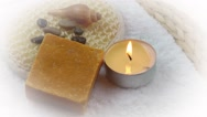 Spa Concept with towel,soaps and candle Stock Footage