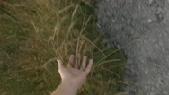 Hand Through Long Grass While Walking Up Mountain Trail Slow Motion Stock Footage