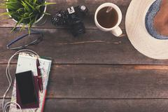 Travel concept background - vacation items on the table Stock Photos