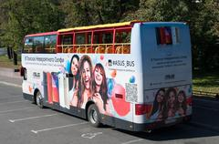 Moscow, Russia -September 21. 2015. A Sightseeing bus with advertising on Bol Stock Photos