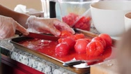 A woman chops tomatos for fresh salsa Stock Footage