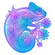 Vector illustration of rainbow chameleon and decorative patterns Stock Illustration