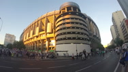 Fans entering the Santiago Bernabeu football stadium Stock Footage