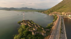 Skadar lake. Route to Podgorica from Adriatic coast. Montenegro Stock Footage