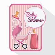 Bottle stroller and baby bib design Stock Illustration