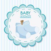 Baby sock inside flower seal stamp design Stock Illustration