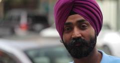 Indian Punjabi sheik man in city face portrait Stock Footage
