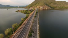 Flight to Lesendro fort on Skadarsko lake, near Podgorica. Ancient ruins of fort Stock Footage
