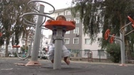 Kid trains for astronaut Stock Footage