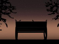 Stencil bench against the backdrop of a starry night sky Design for card. Vector Stock Illustration