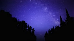 Milky Way Rises over Lake Superior Stock Footage