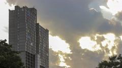 Clouds Break Behind Minneapolis Apartments 4K Timelapse Stock Footage