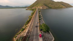 Flying over highway through the Lesendro fort on Skadarsko lake, near Podgorica. Stock Footage