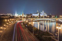 Lights night Kremlin in Moscow Stock Photos