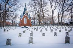 Snow covered cemetary at the National Shrine of Saint Elizabeth Ann Seton in  Stock Photos
