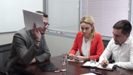 Angry boss with peoples in the office. Business meeting Stock Footage