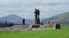 World War II Commando Memorial near Spean Bridge, Scotland, UK Stock Footage