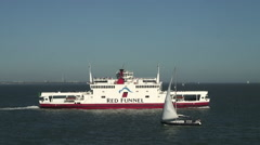 Red Funnel Ferry in Solent Stock Footage