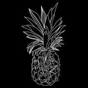 Vector Image of pineapple fruit exoti background. Print t-shirt, graphic element Stock Illustration