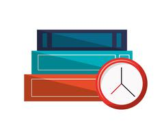 Books and clock icon Piirros