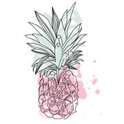 Vector Image of pineapple fruit exoti background. Print t-shirt, graphic element Stock Illustration